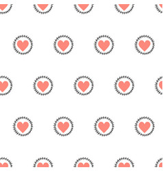 doodle hearts seamless pattern hand drawn vector image