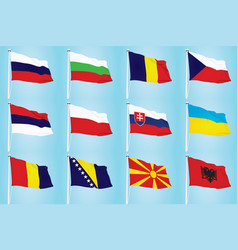 East european countries flags vector