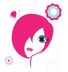 emo girl vector image