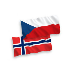 Flags norway and czech republic on a white vector