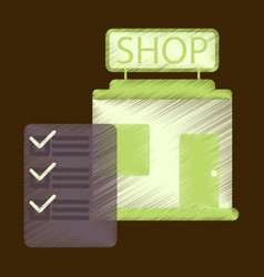 Flat icon in shading style shop form vector