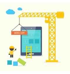 Flat style concept of mobile app developement vector image