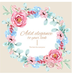 Floral charming wreath design with vintage vector