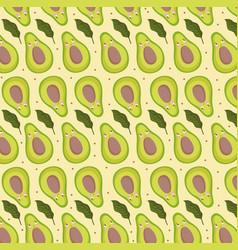 Food pattern funny happy cartoon avocado fresh vector