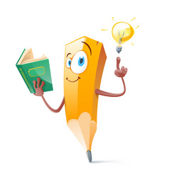 funny pensil with book and idea lamp vector image