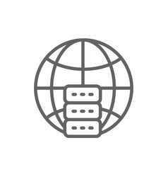 global hosting server data centre line icon vector image