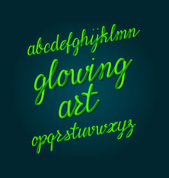 Glowing art typeface bright tubular font vector