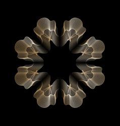 gold line style guilloche flower rosette mandala vector image