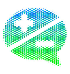 Halftone blue-green arguments icon vector