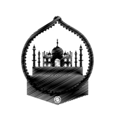 Hand drawing taj mahal temple icon vector