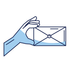 Hand human with envelope mail isolated icon vector