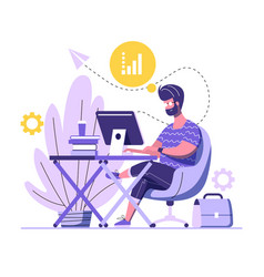 handsome man is working on computer a man is vector image
