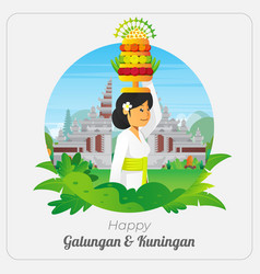 Happy galungan greetings card with praying woman vector