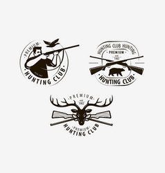 Hunting club set labels hunt logo icon vector