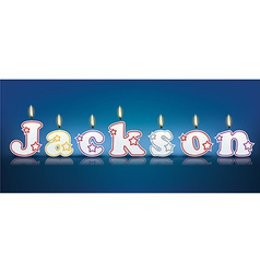 JACKSON written with burning candles vector image