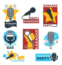 Karaoke club and bar labels design vector