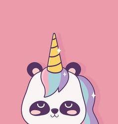 kawaii panda with horn unicorn cartoon character vector image