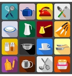 Kitchenware dishes icons set flat style vector