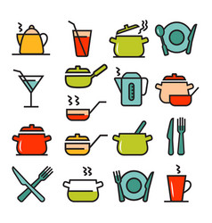 kitchenware icons set suitable for info graphics vector image