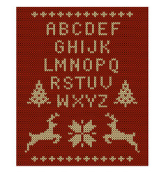 knitted letter set reindeer snowflakes trees vector image