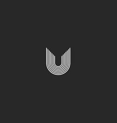 letter u logo monogram creative idea thin lines vector image