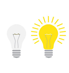 light off and light on lightbulb glowing and vector image