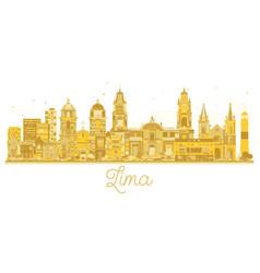 Lima peru city skyline golden silhouette vector