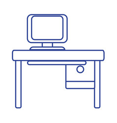 line office with computer technology and wood desk vector image