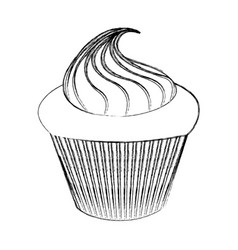 little delicious creamy cupcake vector image