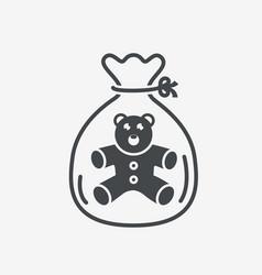 Little teddy bear icon in package vector