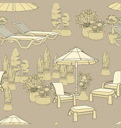 Lounge chairs umbrella and flowers in pot vector
