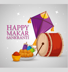 Makar sankranti with drum and kites with food vector