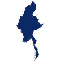 Map myanmar in blue colour vector