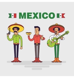Mexican characters set Mexican bandit man vector image