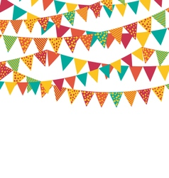 Multicolored Bright Buntings Garlands Flags with vector image