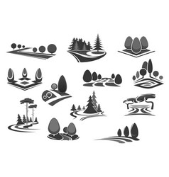 nature landscape icon set with tree and plant vector image