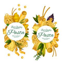 Pasta macaroni and spaghetti round poster vector