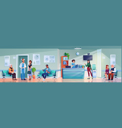 Reception at hospital clinic doctors and patients vector