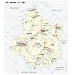 road map region centre val de loire france vector image