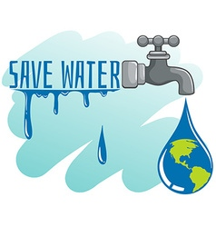 Save water theme with earth and faucet vector