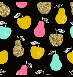 seamless pattern with apples and pears vector image