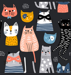 seamless pattern with cute kittens in diferent vector image