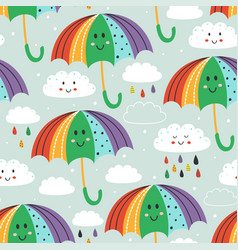 seamless pattern with cute umbrella and rain cloud vector image