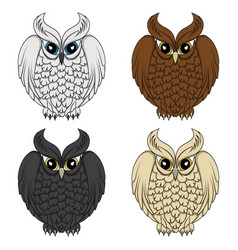 set color images with owls vector image