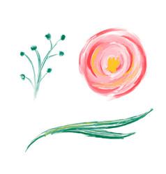 set cute spring watercolor hand drawn vector image