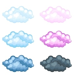 Set different funny cartoon fluffy clouds vector