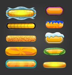 Set of orange button for game design vector