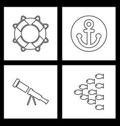 Set sea icons vector