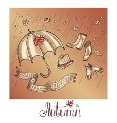 Sketch of autumn clothes and accessories vector