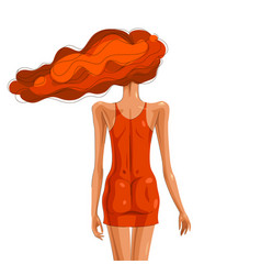 slim young girl from back with a hair on a wind vector image